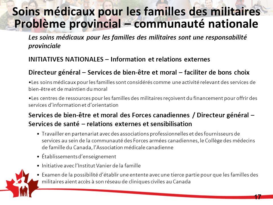 Soins médicaux pour les familles des militaires Problème provincial – communauté nationale Les soins médicaux pour les familles des militaires sont un