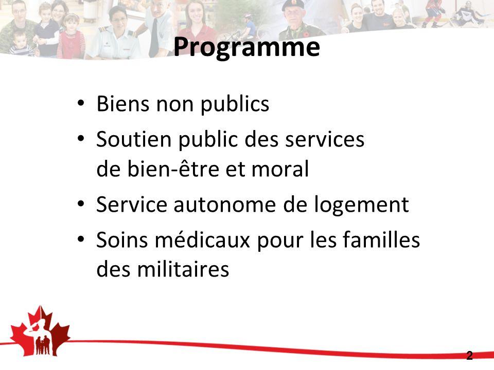 Biens non publics Soutien public des services de bien-être et moral Service autonome de logement Soins médicaux pour les familles des militaires Progr