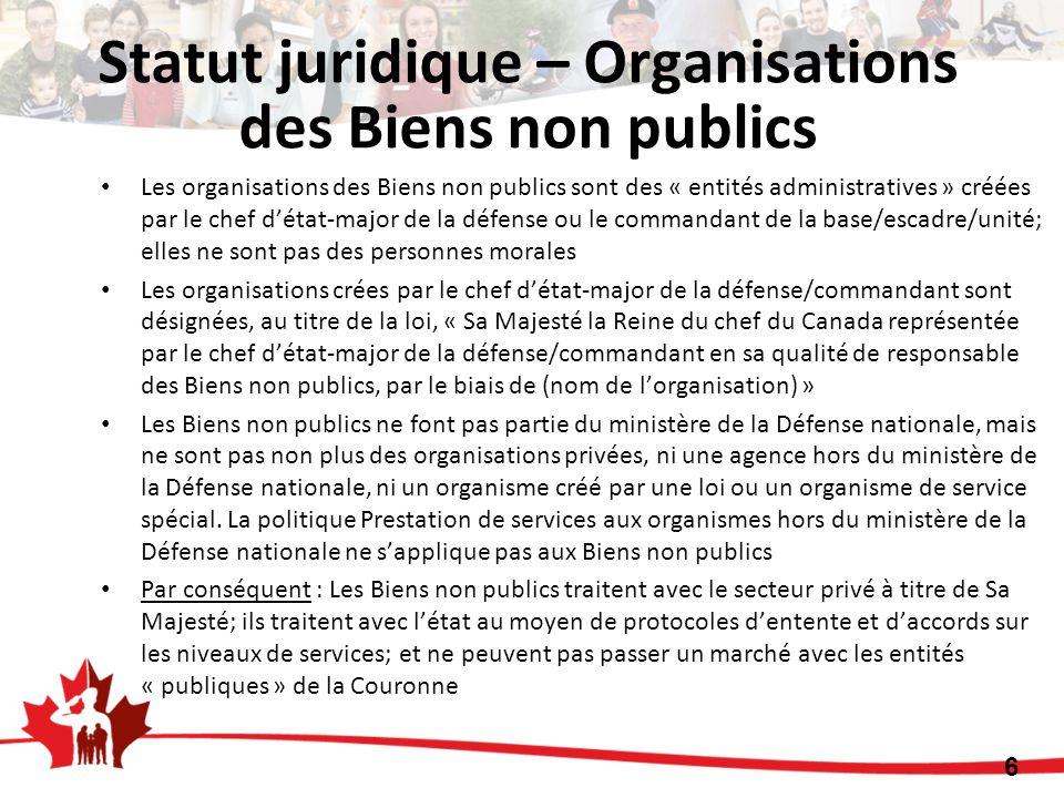 Les organisations des Biens non publics sont des « entités administratives » créées par le chef détat-major de la défense ou le commandant de la base/