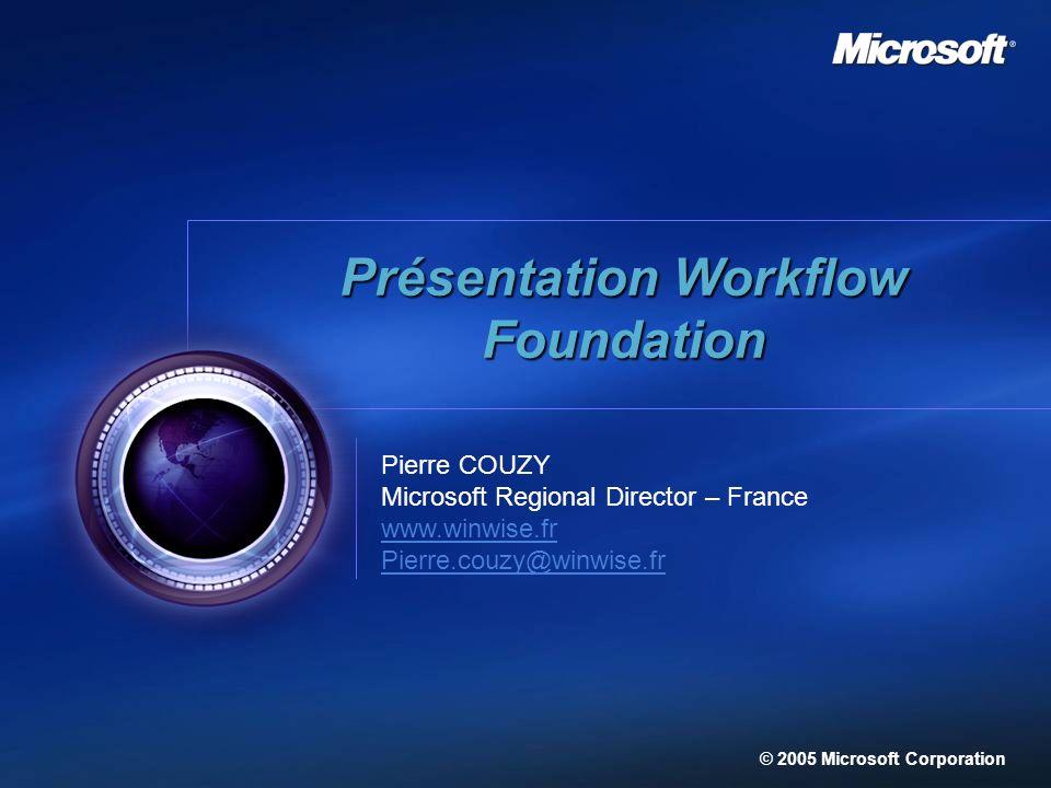 27 Pierre COUZY Microsoft Regional Director – France www.winwise.fr Pierre.couzy@winwise.fr © 2005 Microsoft Corporation Présentation Workflow Foundat