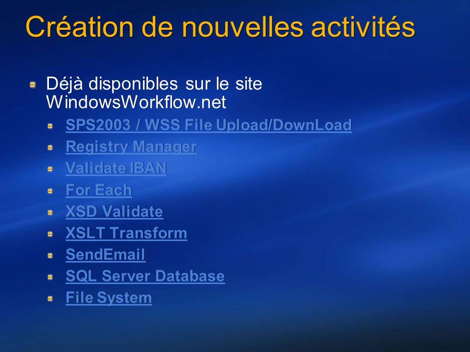 43 Création de nouvelles activités Déjà disponibles sur le site WindowsWorkflow.net SPS2003 / WSS File Upload/DownLoad Registry Manager Validate IBAN