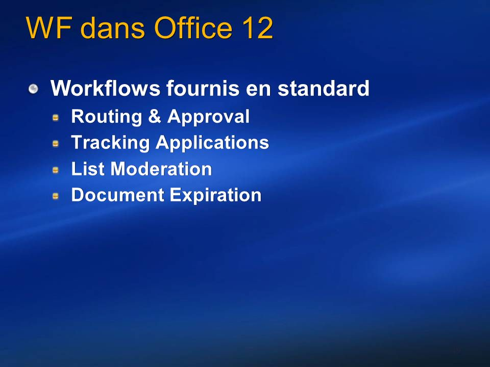 49 WF dans Office 12 Workflows fournis en standard Routing & Approval Tracking Applications List Moderation Document Expiration Workflows fournis en standard Routing & Approval Tracking Applications List Moderation Document Expiration