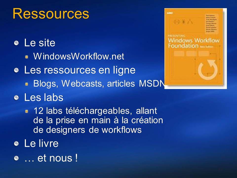 51 Ressources Le site WindowsWorkflow.net Les ressources en ligne Blogs, Webcasts, articles MSDN Les labs 12 labs téléchargeables, allant de la prise