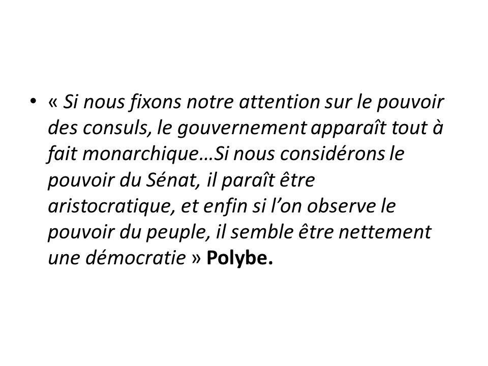 « Si nous fixons notre attention sur le pouvoir des consuls, le gouvernement apparaît tout à fait monarchique…Si nous considérons le pouvoir du Sénat,