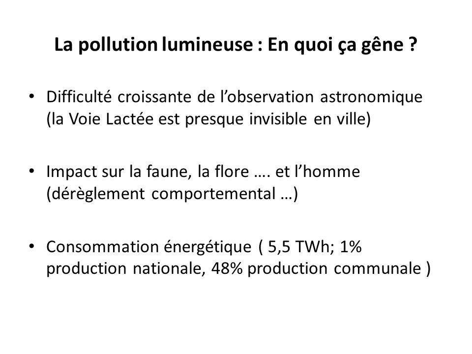 La pollution lumineuse : En quoi ça gêne ? Difficulté croissante de lobservation astronomique (la Voie Lactée est presque invisible en ville) Impact s