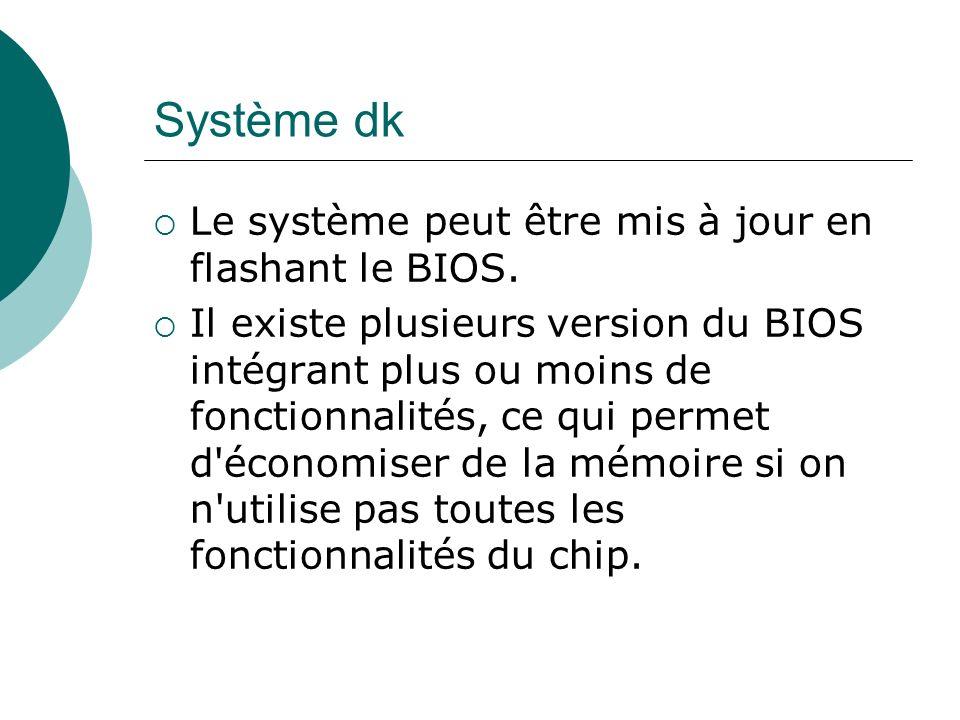 Système dk Le système peut être mis à jour en flashant le BIOS. Il existe plusieurs version du BIOS intégrant plus ou moins de fonctionnalités, ce qui