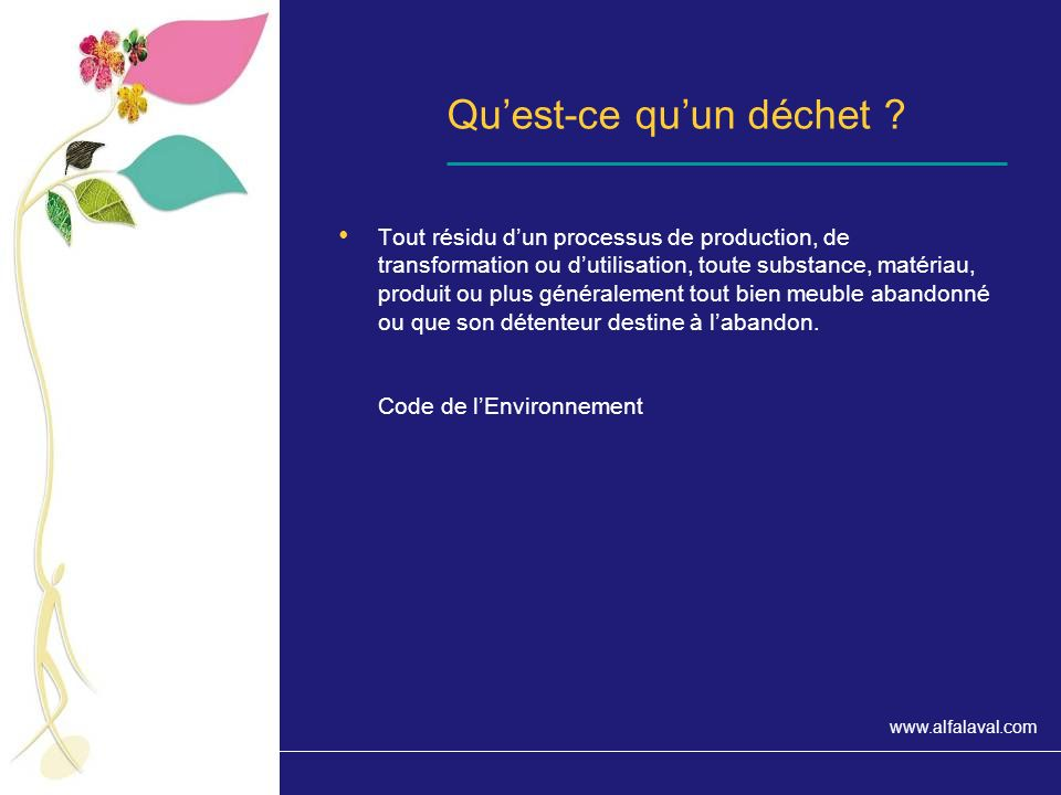 www.alfalaval.com Les déchets des entreprises Principaux chiffres