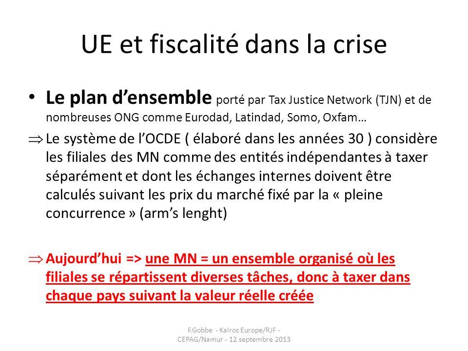 UE et fiscalité dans la crise Le plan densemble porté par Tax Justice Network (TJN) et de nombreuses ONG comme Eurodad, Latindad, Somo, Oxfam… Le syst