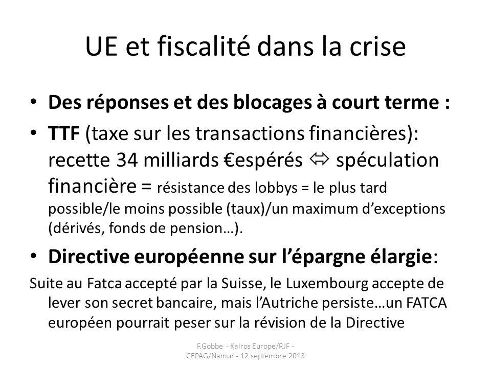 UE et fiscalité dans la crise Des réponses et des blocages à court terme : TTF (taxe sur les transactions financières): recette 34 milliards espérés s
