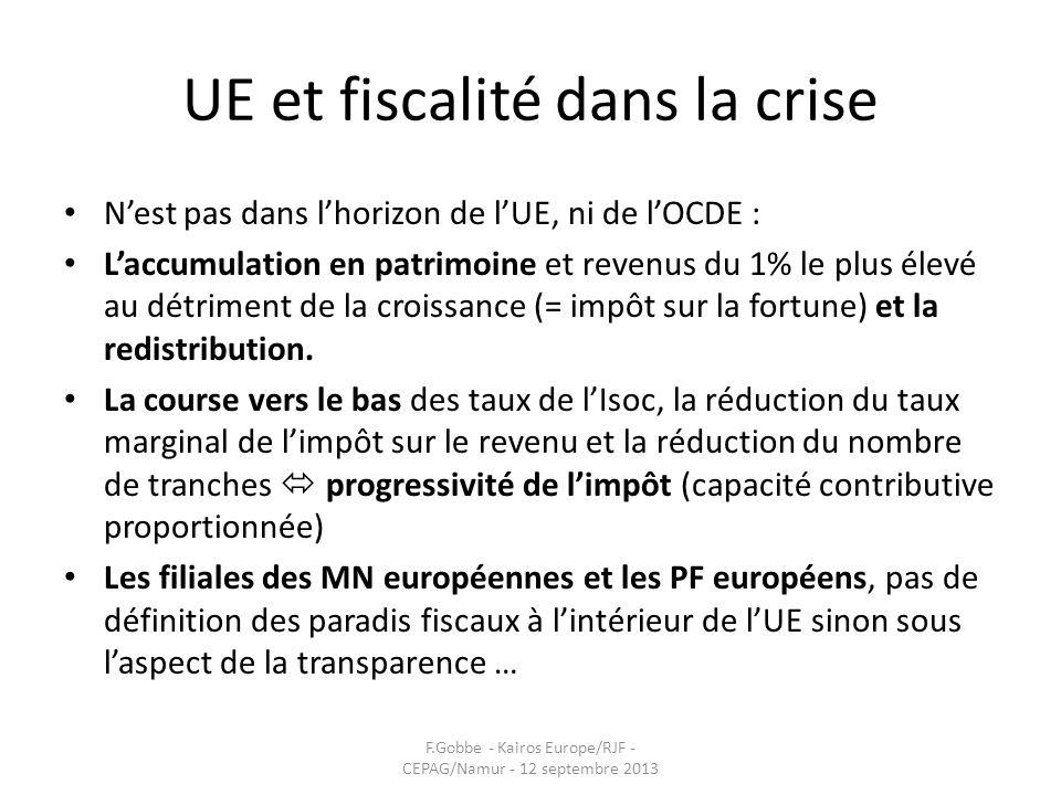 UE et fiscalité dans la crise Nest pas dans lhorizon de lUE, ni de lOCDE : Laccumulation en patrimoine et revenus du 1% le plus élevé au détriment de
