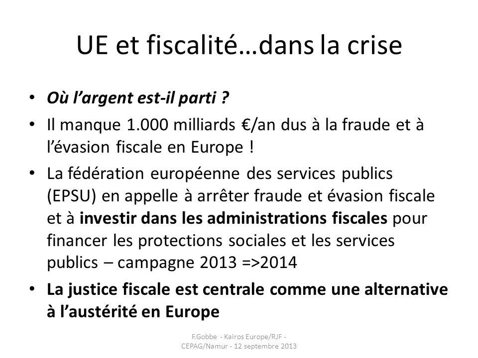 UE et fiscalité…dans la crise Où largent est-il parti ? Il manque 1.000 milliards /an dus à la fraude et à lévasion fiscale en Europe ! La fédération