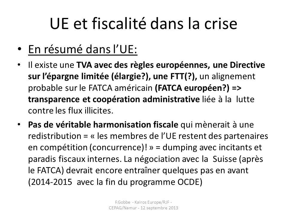 UE et fiscalité dans la crise En résumé dans lUE: Il existe une TVA avec des règles européennes, une Directive sur lépargne limitée (élargie?), une FT
