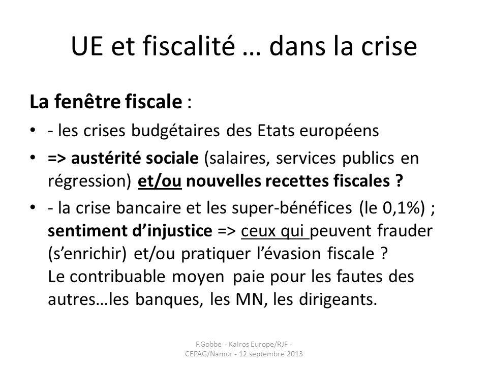 UE et fiscalité … dans la crise La fenêtre fiscale : - les crises budgétaires des Etats européens => austérité sociale (salaires, services publics en