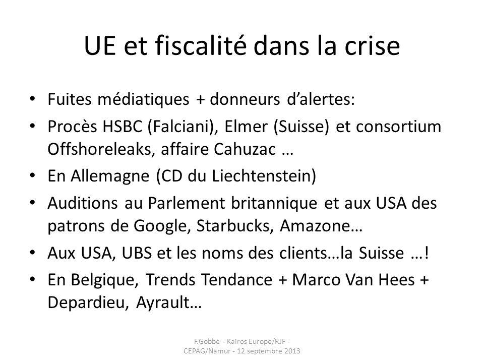 UE et fiscalité dans la crise Fuites médiatiques + donneurs dalertes: Procès HSBC (Falciani), Elmer (Suisse) et consortium Offshoreleaks, affaire Cahu