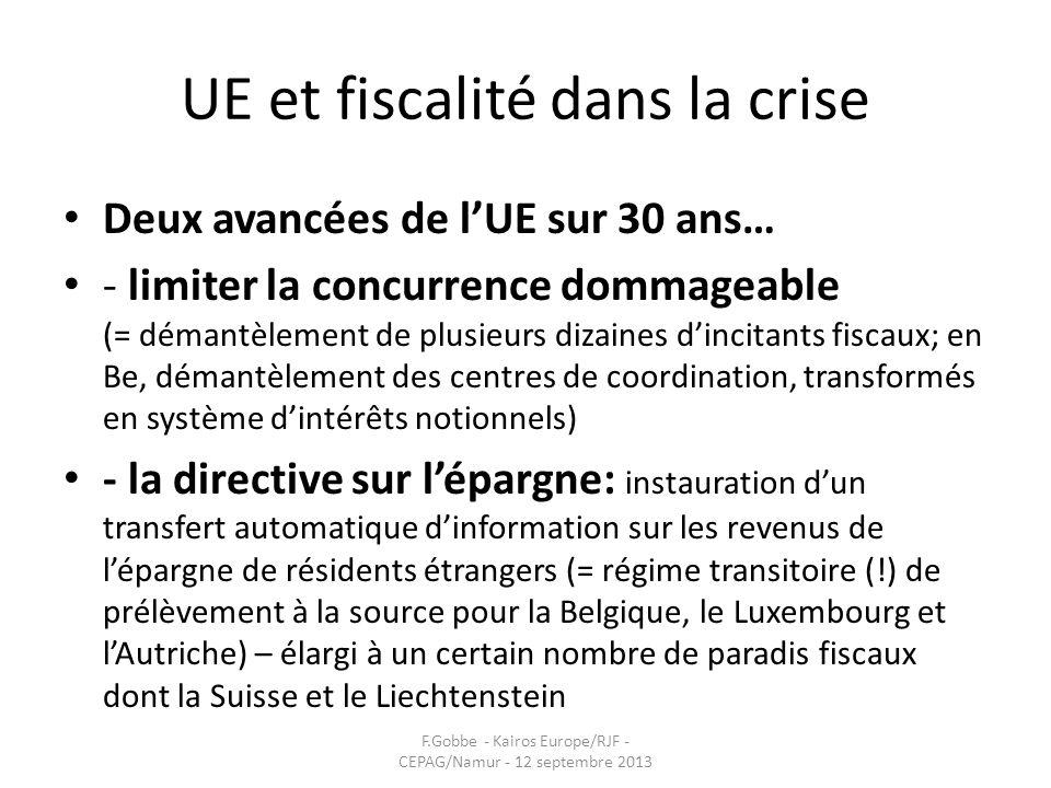 UE et fiscalité dans la crise Deux avancées de lUE sur 30 ans… - limiter la concurrence dommageable (= démantèlement de plusieurs dizaines dincitants