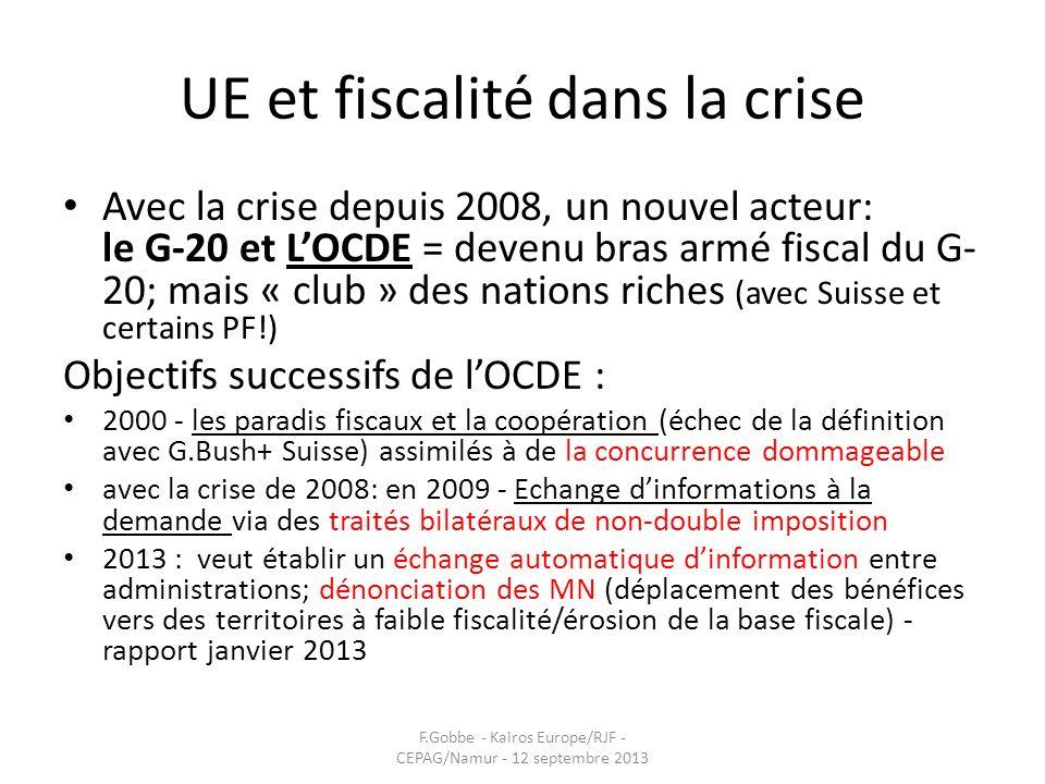 UE et fiscalité dans la crise Avec la crise depuis 2008, un nouvel acteur: le G-20 et LOCDE = devenu bras armé fiscal du G- 20; mais « club » des nati