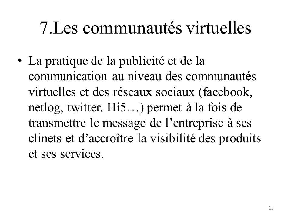 7.Les communautés virtuelles La pratique de la publicité et de la communication au niveau des communautés virtuelles et des réseaux sociaux (facebook,