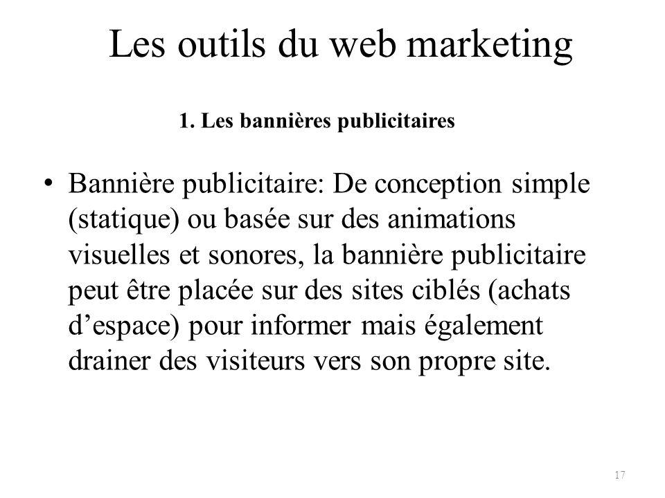Les outils du web marketing Bannière publicitaire: De conception simple (statique) ou basée sur des animations visuelles et sonores, la bannière publi