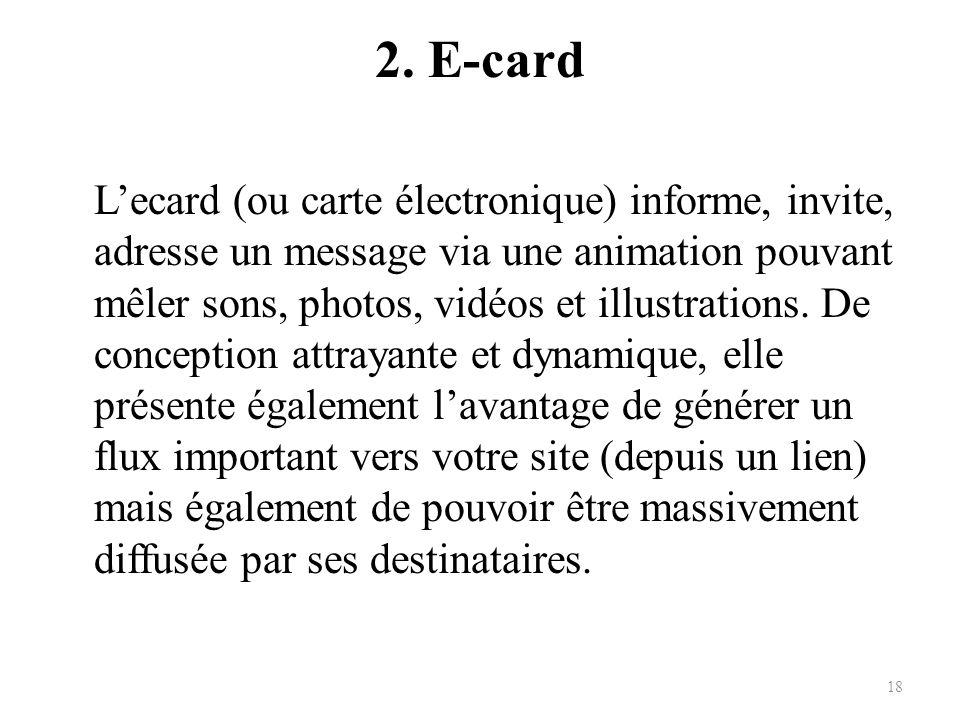 2. E-card Lecard (ou carte électronique) informe, invite, adresse un message via une animation pouvant mêler sons, photos, vidéos et illustrations. De