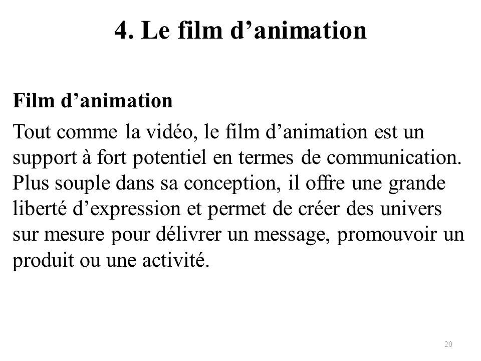 4. Le film danimation Film danimation Tout comme la vidéo, le film danimation est un support à fort potentiel en termes de communication. Plus souple