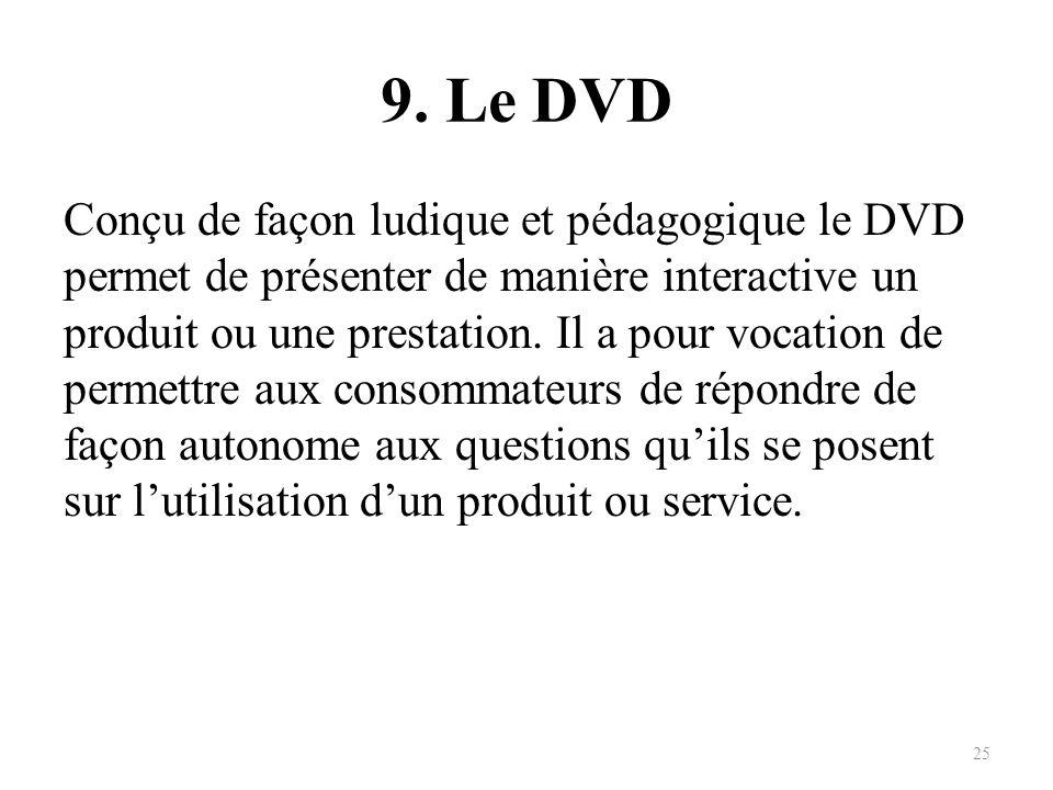 9. Le DVD Conçu de façon ludique et pédagogique le DVD permet de présenter de manière interactive un produit ou une prestation. Il a pour vocation de