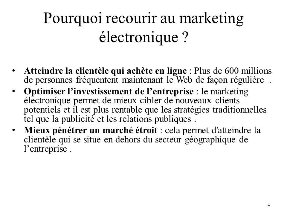 Pourquoi recourir au marketing électronique ? Atteindre la clientèle qui achète en ligne : Plus de 600 millions de personnes fréquentent maintenant le
