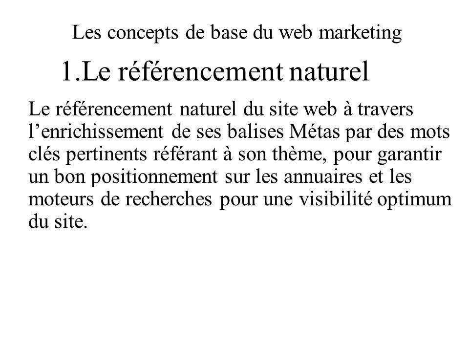 Les concepts de base du web marketing Le référencement naturel du site web à travers lenrichissement de ses balises Métas par des mots clés pertinents