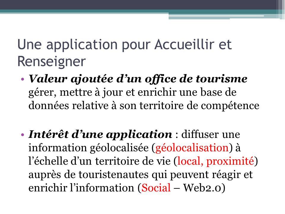 Une application pour Accueillir et Renseigner Valeur ajoutée dun office de tourisme gérer, mettre à jour et enrichir une base de données relative à so