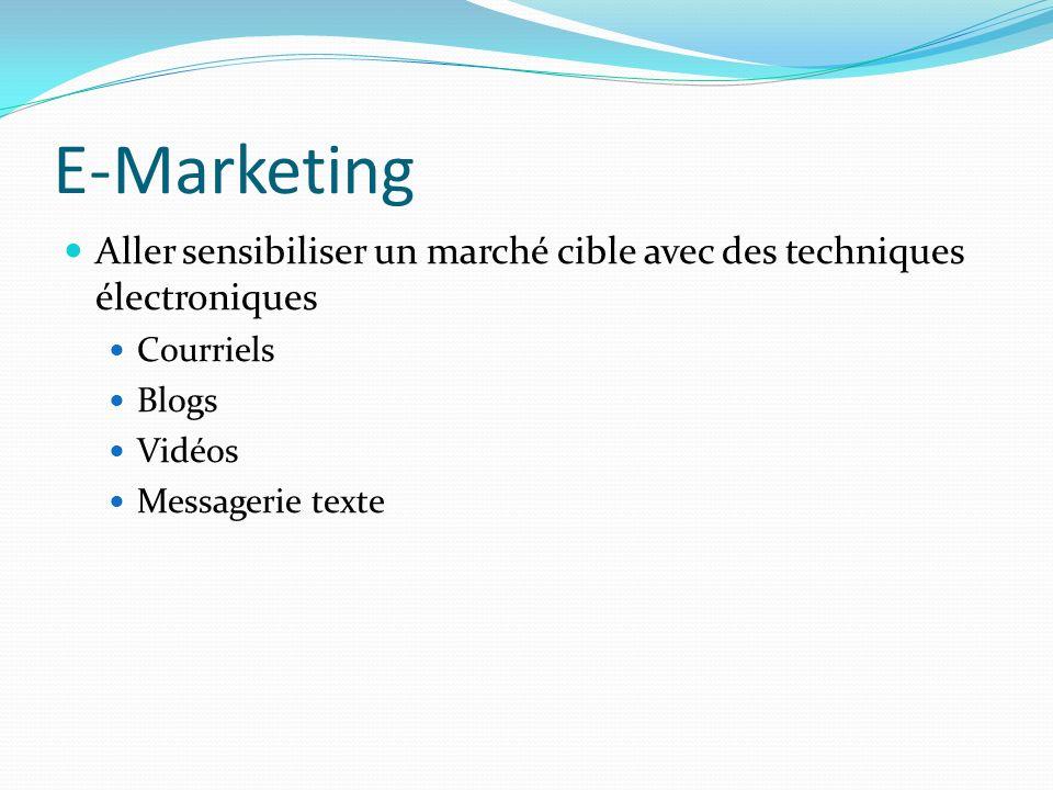 E-Marketing Aller sensibiliser un marché cible avec des techniques électroniques Courriels Blogs Vidéos Messagerie texte