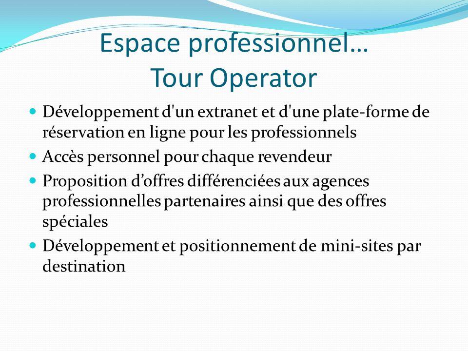 Espace professionnel… Tour Operator Développement d'un extranet et d'une plate-forme de réservation en ligne pour les professionnels Accès personnel p