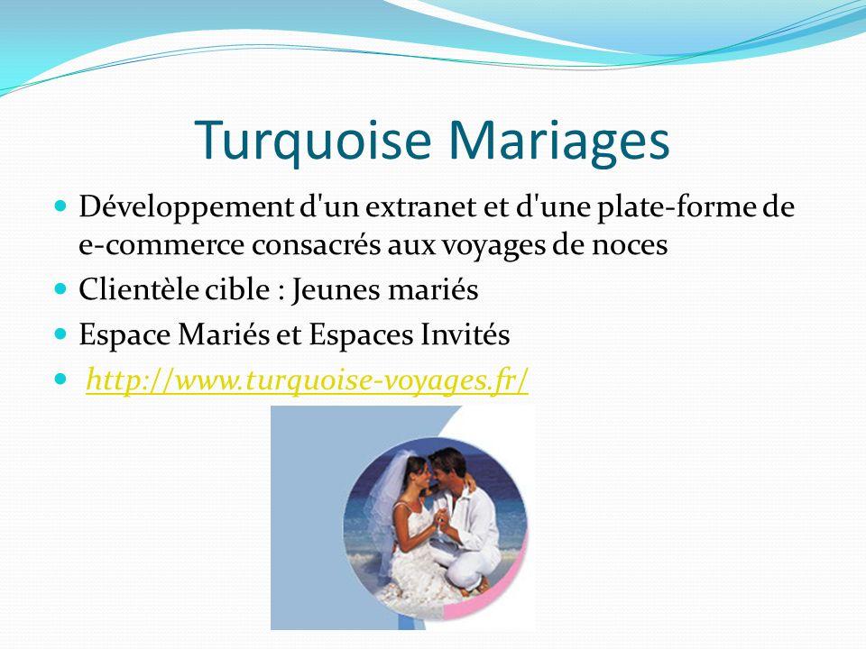 Turquoise Mariages Développement d'un extranet et d'une plate-forme de e-commerce consacrés aux voyages de noces Clientèle cible : Jeunes mariés Espac