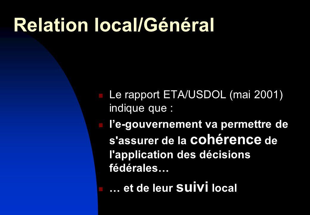 Relation local/Général Le rapport ETA/USDOL (mai 2001) indique que : le-gouvernement va permettre de s assurer de la cohérence de l application des décisions fédérales… … et de leur suivi local