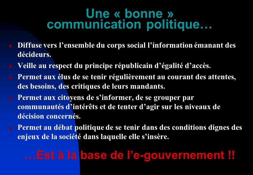 Une « bonne » communication politique… Diffuse vers lensemble du corps social linformation émanant des décideurs.