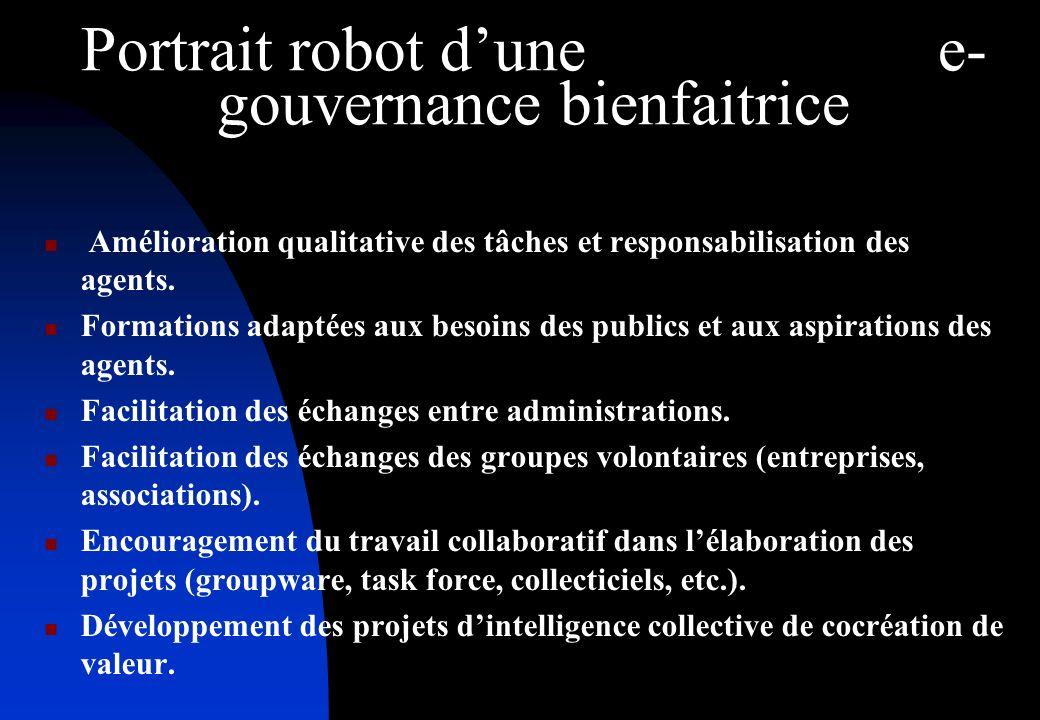 Portrait robot dune e- gouvernance bienfaitrice Amélioration qualitative des tâches et responsabilisation des agents.