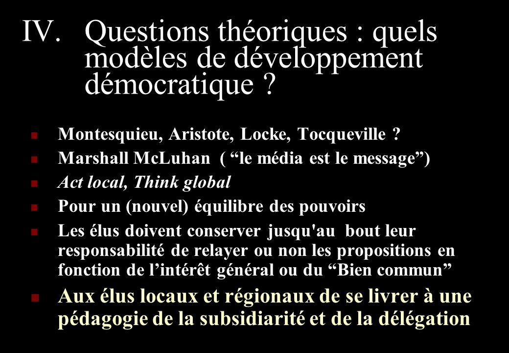IV.Questions théoriques : quels modèles de développement démocratique .