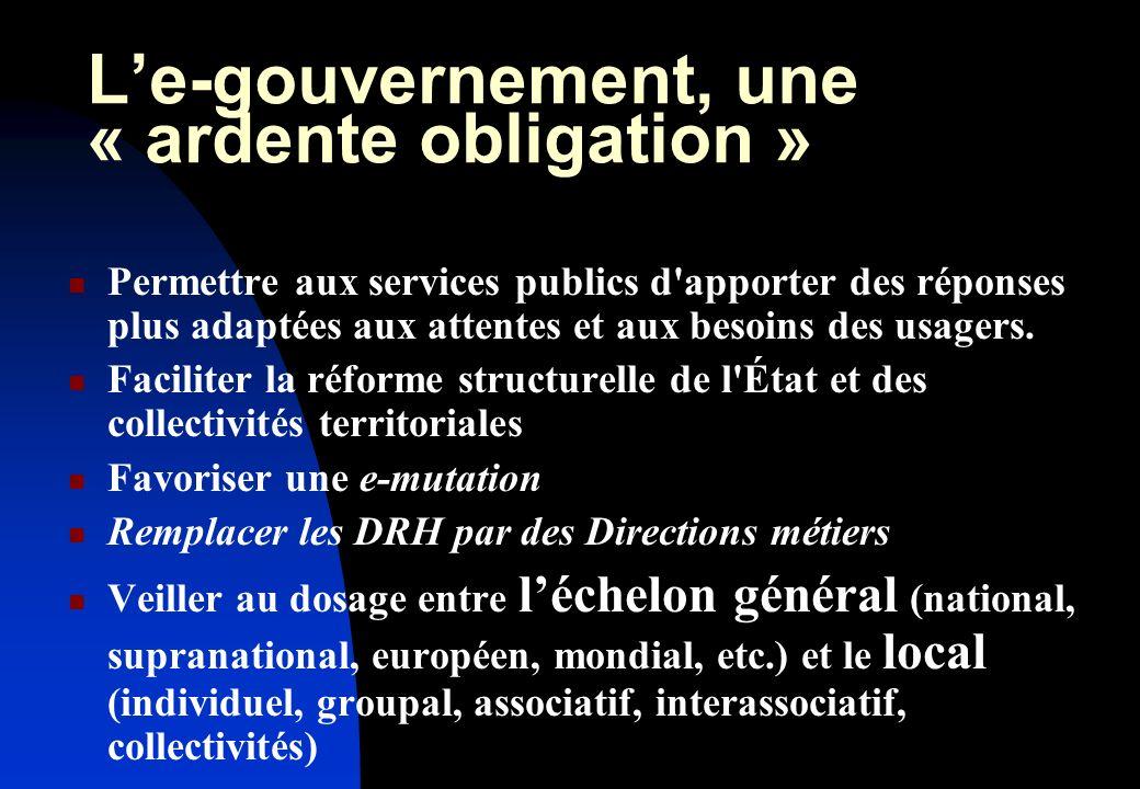 Le-gouvernement, une « ardente obligation » Permettre aux services publics d apporter des réponses plus adaptées aux attentes et aux besoins des usagers.