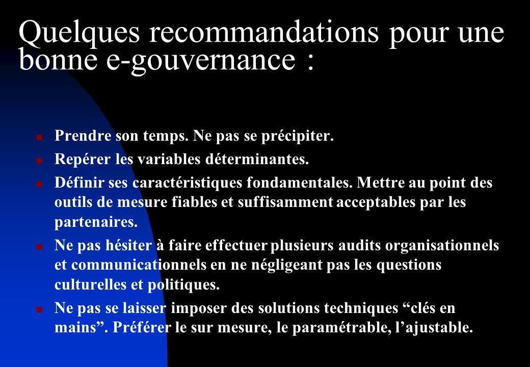 Quelques recommandations pour une bonne e-gouvernance : Prendre son temps.