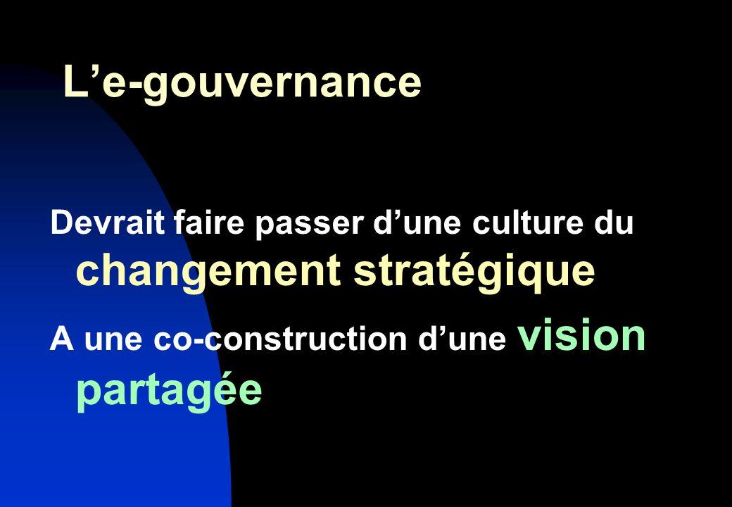 Le-gouvernance Devrait faire passer dune culture du changement stratégique A une co-construction dune vision partagée