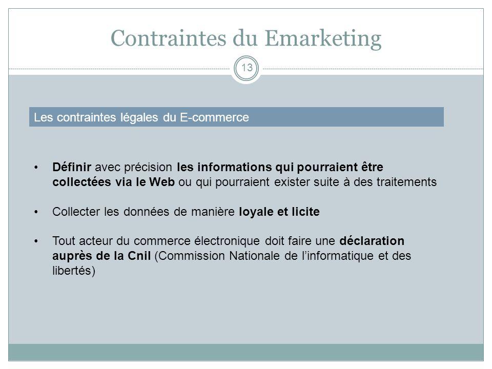Contraintes du Emarketing 13 Les contraintes légales du E-commerce Définir avec précision les informations qui pourraient être collectées via le Web o