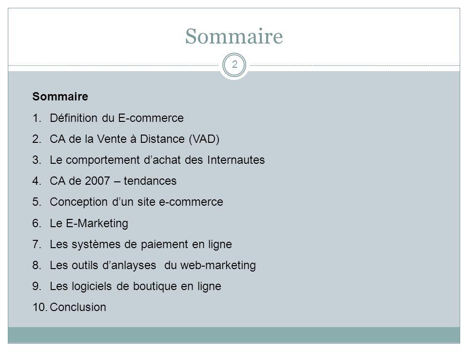 Sommaire 2 1.Définition du E-commerce 2.CA de la Vente à Distance (VAD) 3.Le comportement dachat des Internautes 4.CA de 2007 – tendances 5.Conception