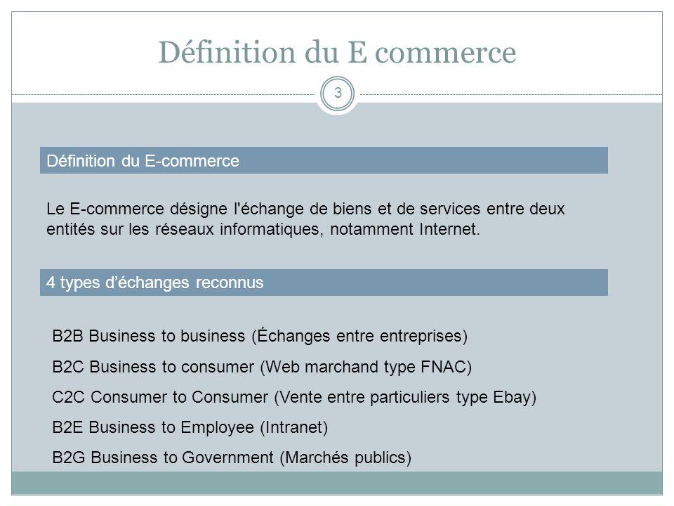 Définition du E commerce 3 Définition du E-commerce Le E-commerce désigne l'échange de biens et de services entre deux entités sur les réseaux informa