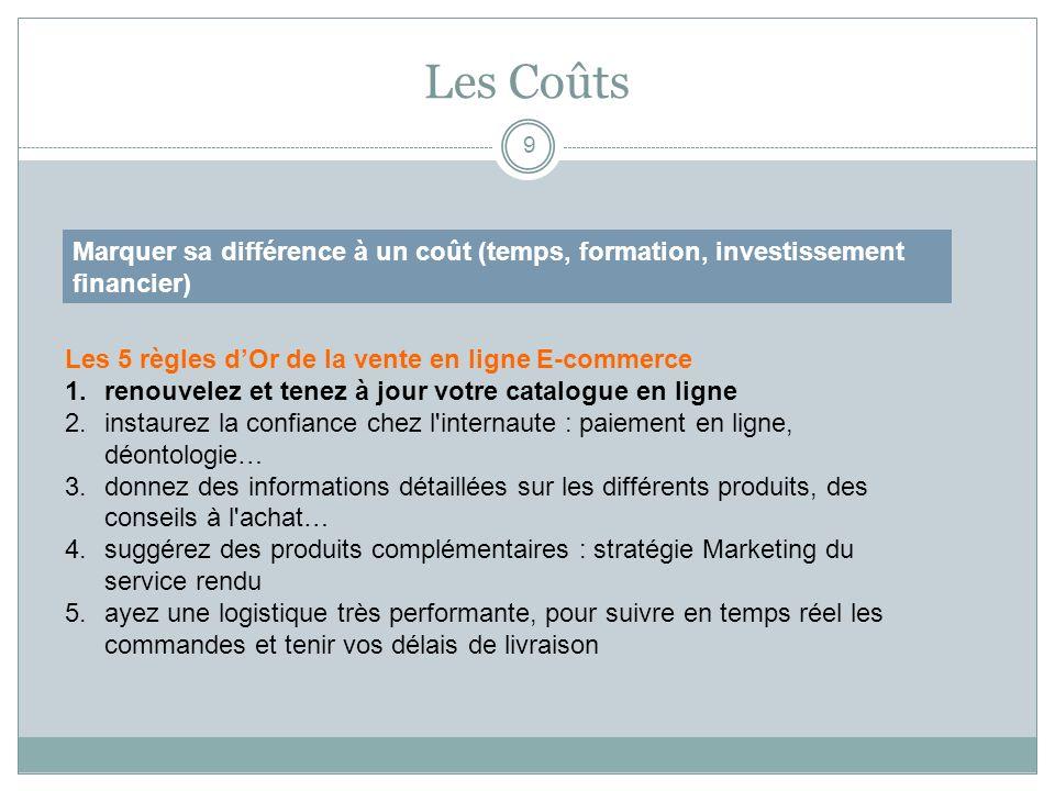 Les Coûts 9 Marquer sa différence à un coût (temps, formation, investissement financier) Les 5 règles dOr de la vente en ligne E-commerce 1.renouvelez