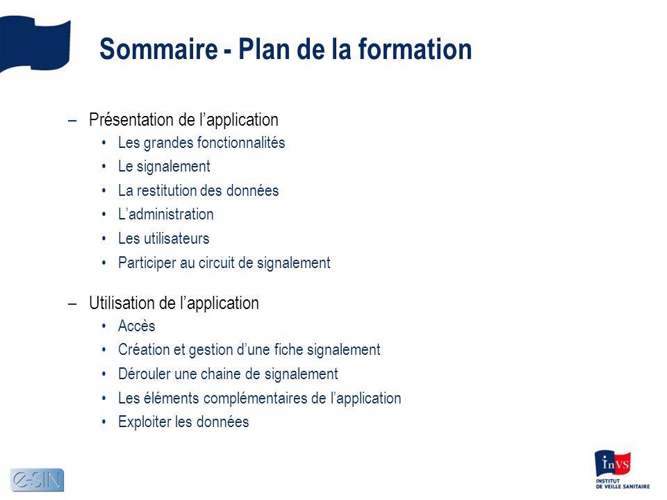 Sommaire - Plan de la formation –Présentation de lapplication Les grandes fonctionnalités Le signalement La restitution des données Ladministration Le