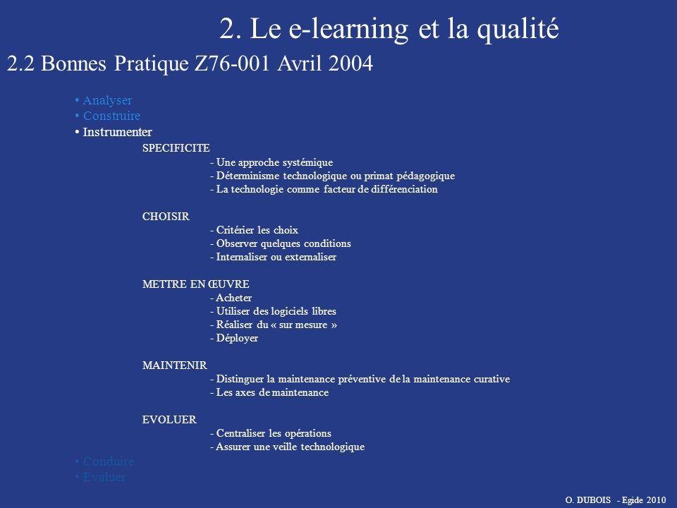 2. Le e-learning et la qualité 2.2 Bonnes Pratique Z76-001 Avril 2004 Analyser Construire Instrumenter SPECIFICITE - Une approche systémique - Détermi