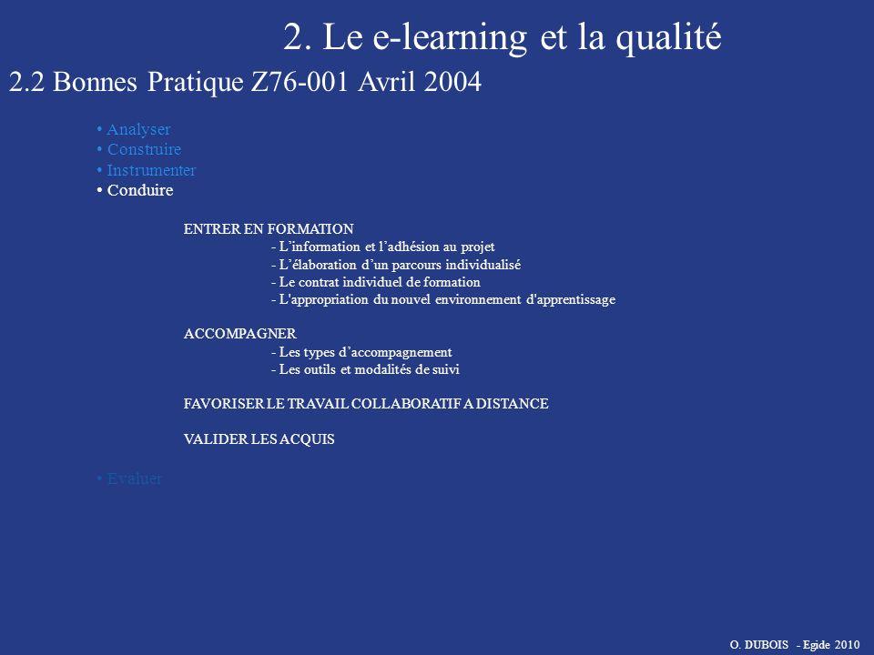 2. Le e-learning et la qualité 2.2 Bonnes Pratique Z76-001 Avril 2004 Analyser Construire Instrumenter Conduire ENTRER EN FORMATION - Linformation et