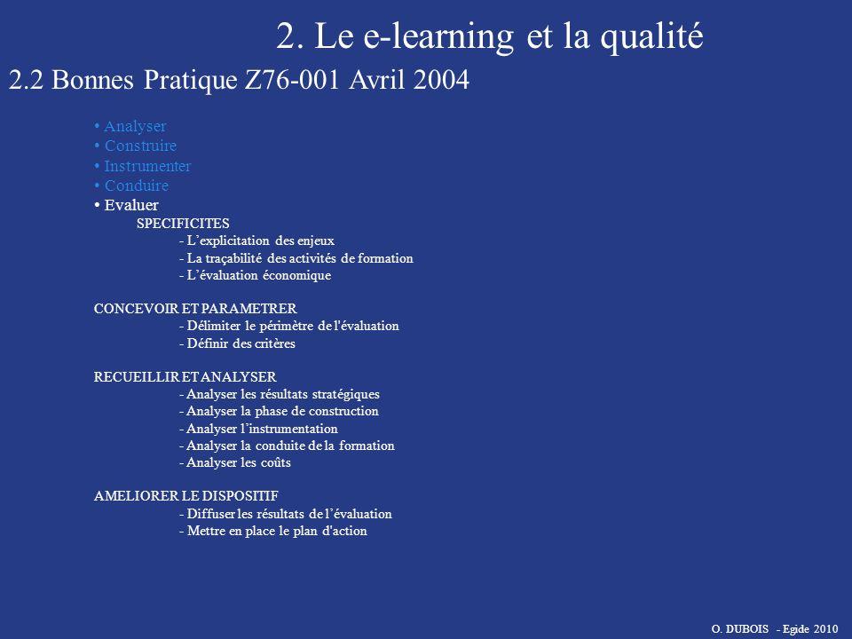 2. Le e-learning et la qualité 2.2 Bonnes Pratique Z76-001 Avril 2004 Analyser Construire Instrumenter Conduire Evaluer SPECIFICITES - Lexplicitation