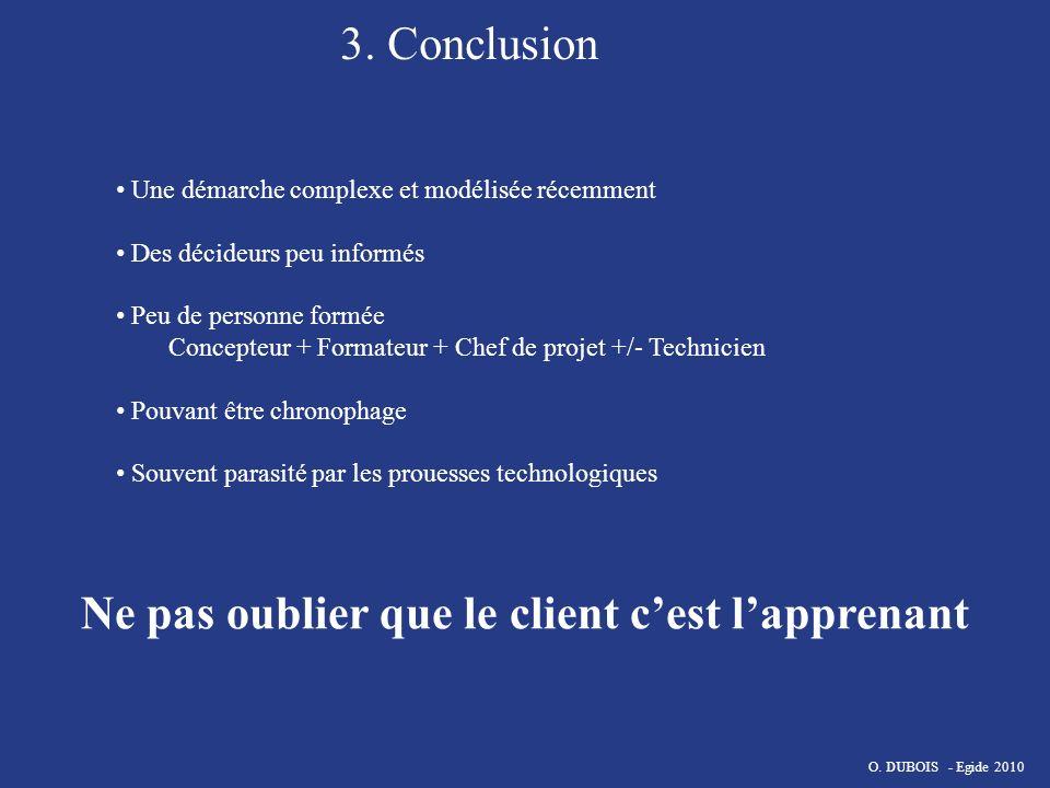 3. Conclusion Une démarche complexe et modélisée récemment Des décideurs peu informés Peu de personne formée Concepteur + Formateur + Chef de projet +