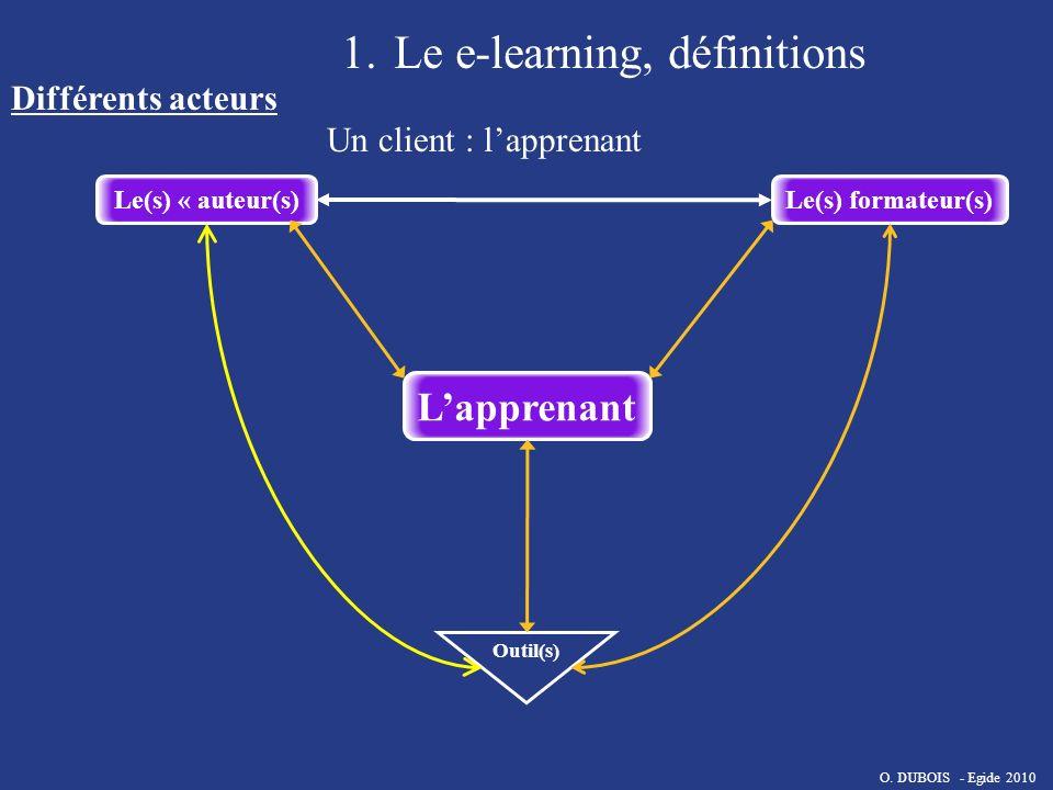 Le(s) « auteur(s)Le(s) formateur(s) Outil(s) Lapprenant 1.Le e-learning, définitions Différents acteurs Un client : lapprenant O. DUBOIS - Egide 2010
