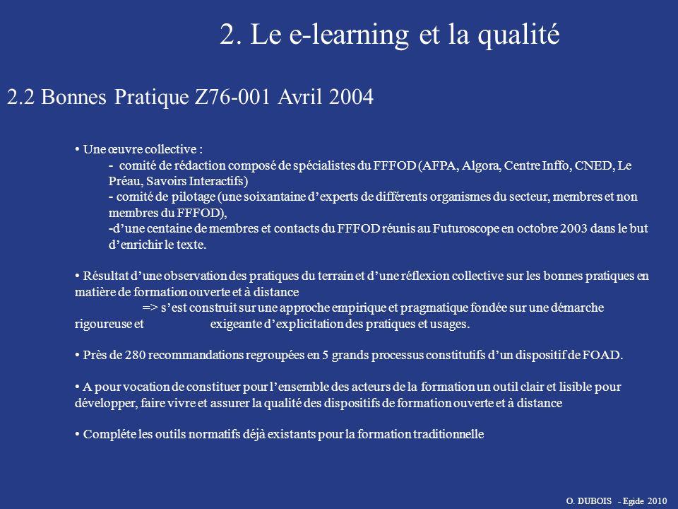 2. Le e-learning et la qualité 2.2 Bonnes Pratique Z76-001 Avril 2004 Une œuvre collective : - comité de rédaction composé de spécialistes du FFFOD (A