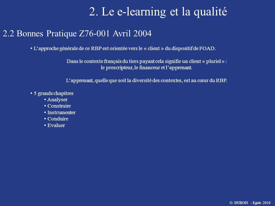 2. Le e-learning et la qualité 2.2 Bonnes Pratique Z76-001 Avril 2004 Lapproche générale de ce RBP est orientée vers le « client » du dispositif de FO